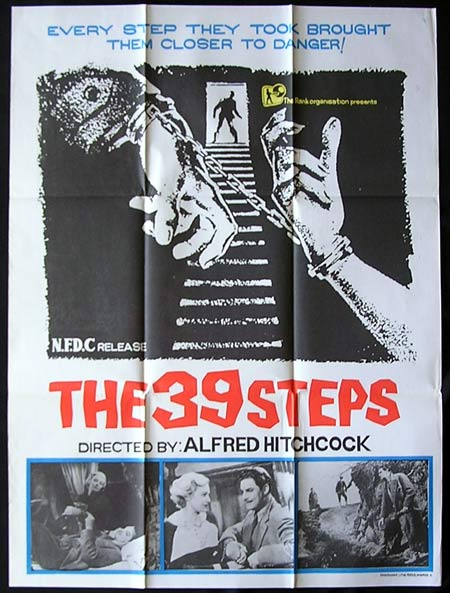 THE 39 STEPS Alfred Hitchcock RARE Indian one sheet
