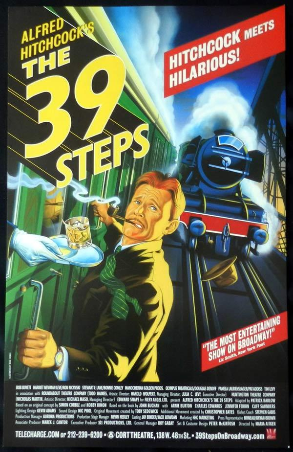 THE 39 STEPS Alfred Hitchcock RARE Theatre poster HITCHCOCK MEETS HILARIOUS!