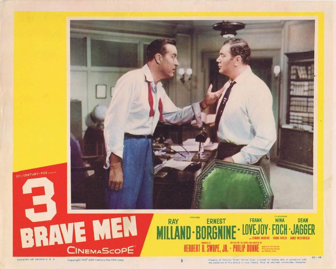 3 BRAVE MEN 1957 Ray Milland Borgnine Lobby Card  3