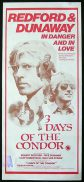3 DAYS OF THE CONDOR Daybill Movie poster 1975 Robert Redford RARE