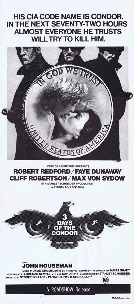 3 DAYS OF THE CONDOR Daybill Movie Poster Robert Redford B