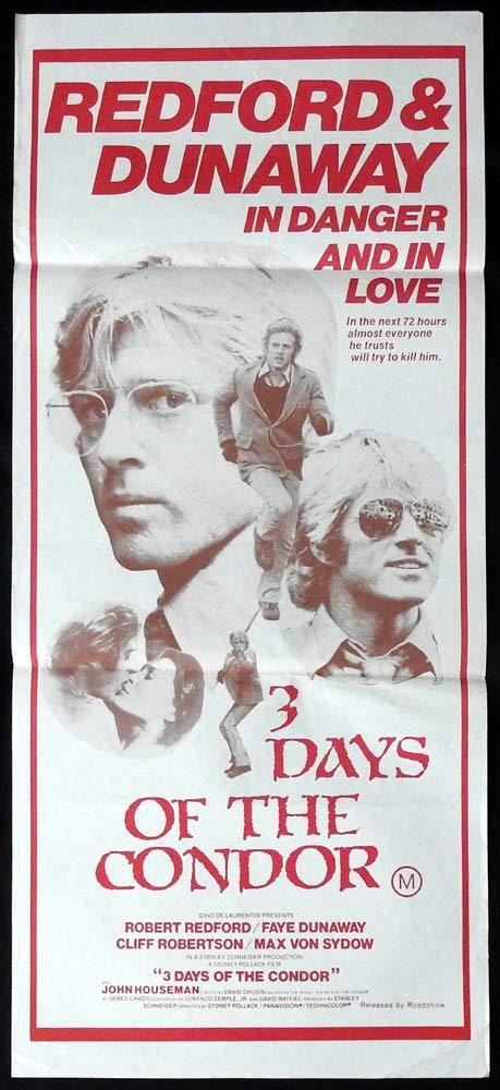 Three Days of the Condor, Sydney Pollack, Robert Redford, Faye Dunaway, Cliff Robertson, Max von Sydow