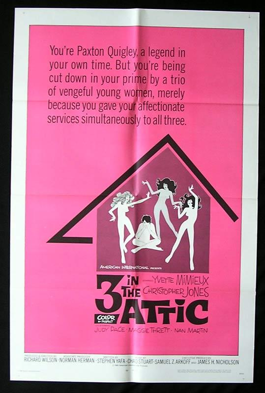 THREE IN THE ATTIC Original One sheet Movie poster Christopher Jones Yvette Mimieux 3