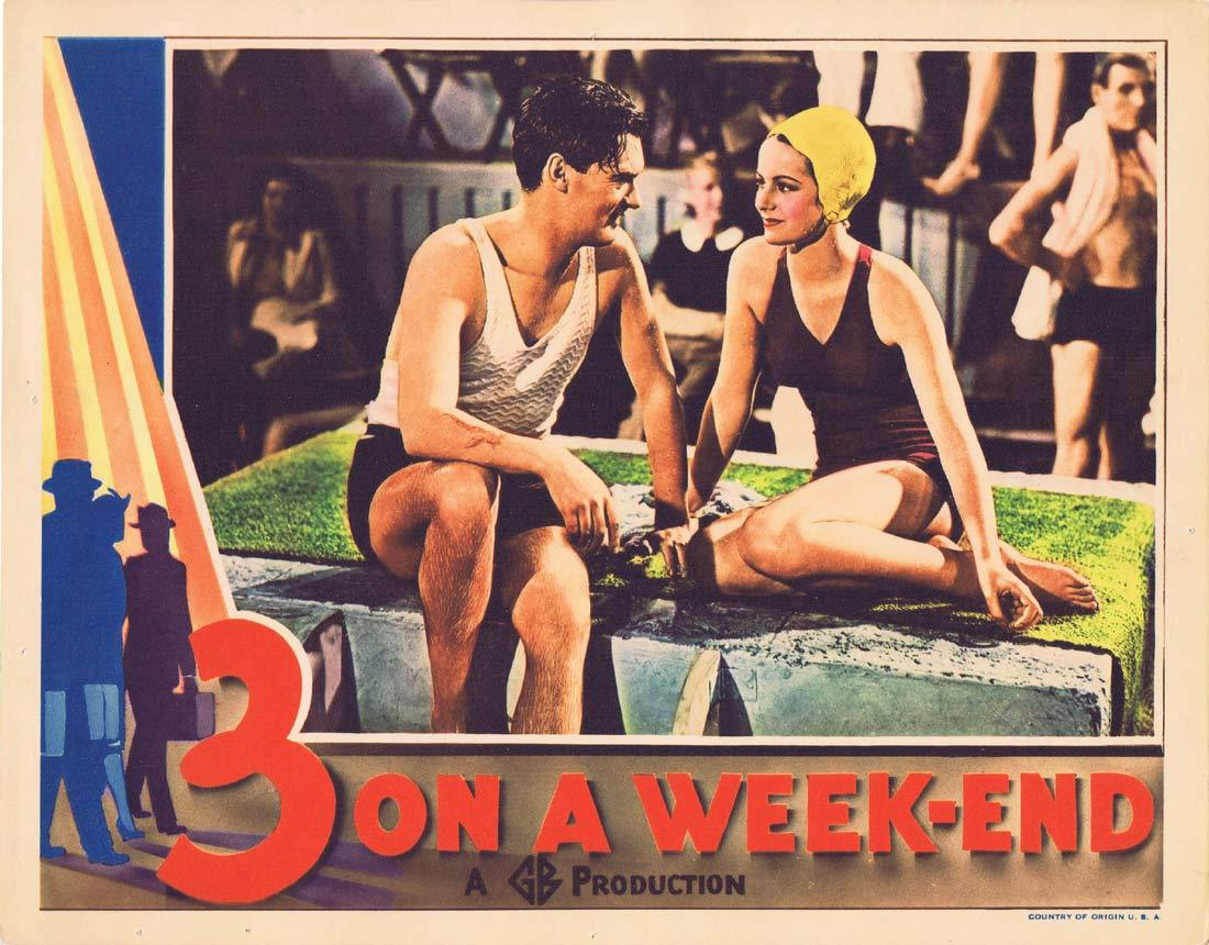 3 ON A WEEKEND Original Lobby Card John Lodge Margaret Lockwood 1938 Bank Holiday