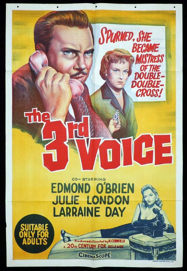 THE 3RD VOICE One Sheet Movie Poster Julie London Laraine Day Edmond O'Brien
