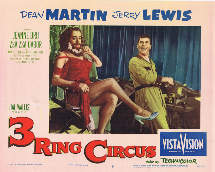 3 RING CIRCUS Lobby Card 5 Jerry Lewis
