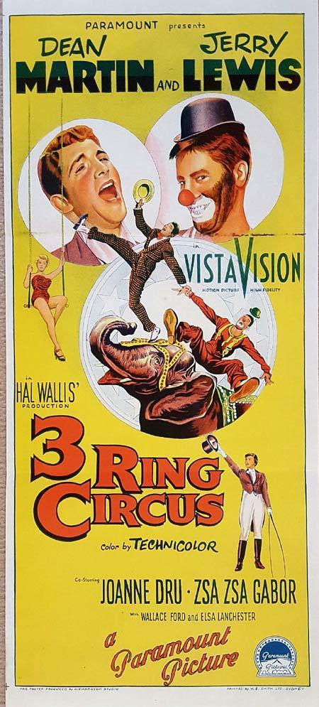 3 RING CIRCUS Original Daybill Movie Poster DEAN MARTIN JERRY LEWIS Richardson Studio