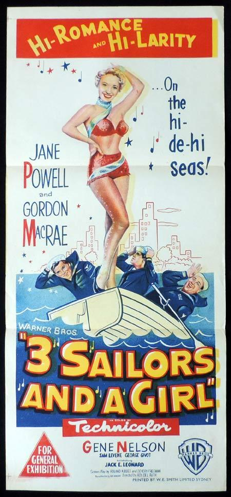 3 SAILORS AND A GIRL Original Daybill Movie Poster Jane Powell Gordon MacRae