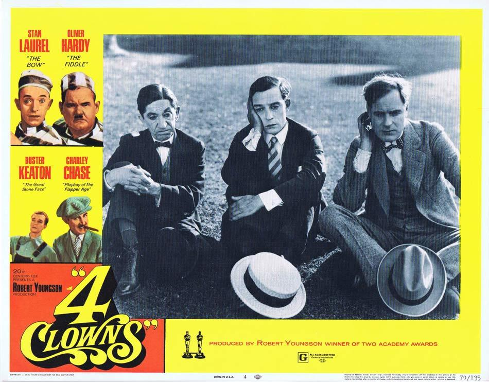 4 CLOWNS Lobby Card 4 Laurel and Hardy Charley Chase