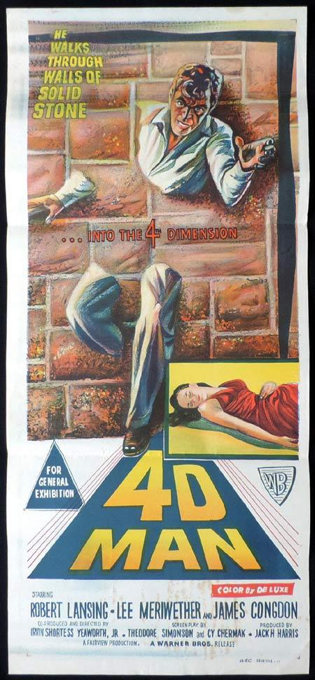 4D MAN Original daybill Movie poster Robert Lansing Sci FI