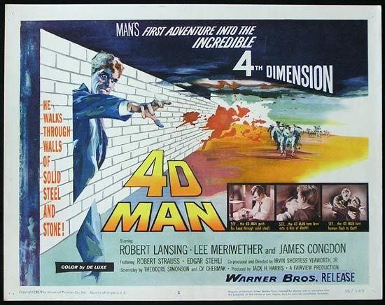 4D MAN 1959 Robert Lansing SCI FI Invisible Man! Title Lobby card