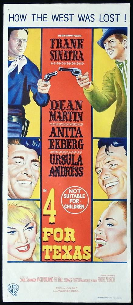 4 FOR TEXAS Original Daybill Movie Poster Frank Sinatra Dean Martin