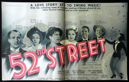 52nd STREET 1938 Zasu Pitts Leo Carrillo VINTAGE Original Movie Trade Ad