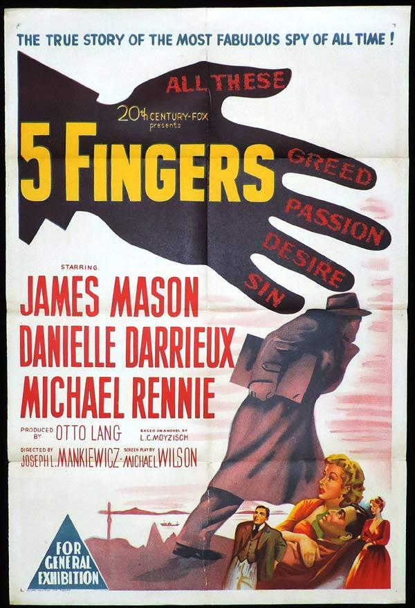 5 FINGERS One Sheet Movie Poster Danielle Darrieux James Mason