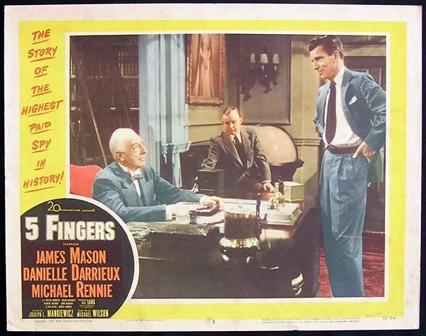 5 FINGERS 1952 James Mason Michael Rennie Lobby Card 3