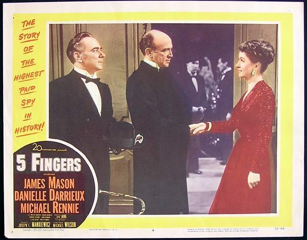 5 FINGERS 1952 James Mason Michael Rennie Lobby Card 4