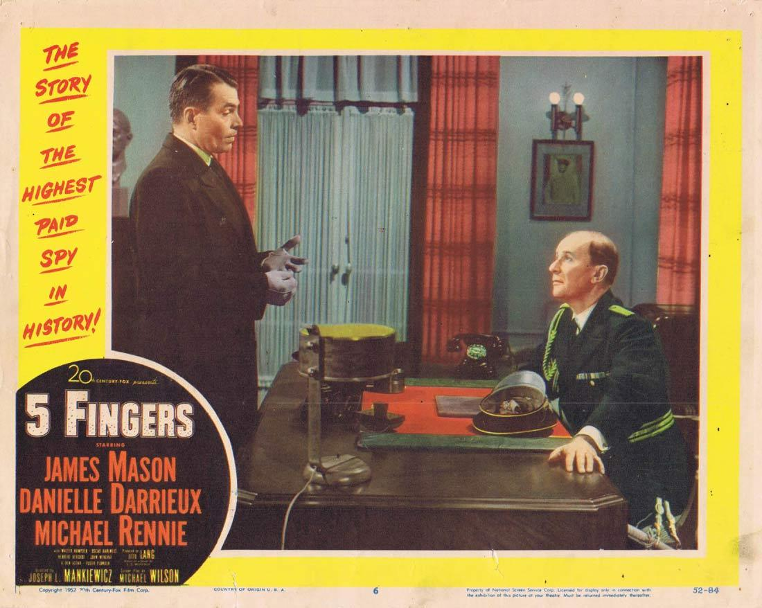 5 FINGERS Original Lobby Card 6 James Mason Danielle Darrieux Michael Rennie