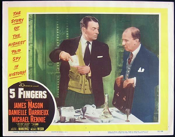 5 FINGERS 1952 James Mason Michael Rennie Lobby Card 7