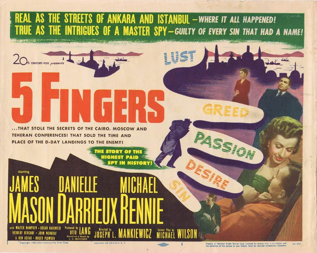 5 FINGERS Original Title Lobby Card  James Mason Danielle Darrieux Michael Rennie