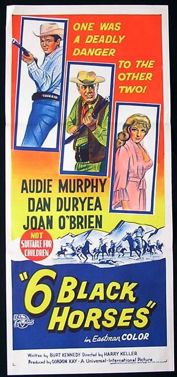 6 BLACK HORSES Daybill Movie poster 1969 Audie Murphy