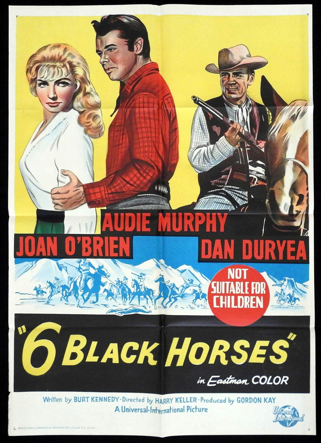 6 BLACK HORSES Original One sheet Movie poster Audie Murphy Dan Duryea