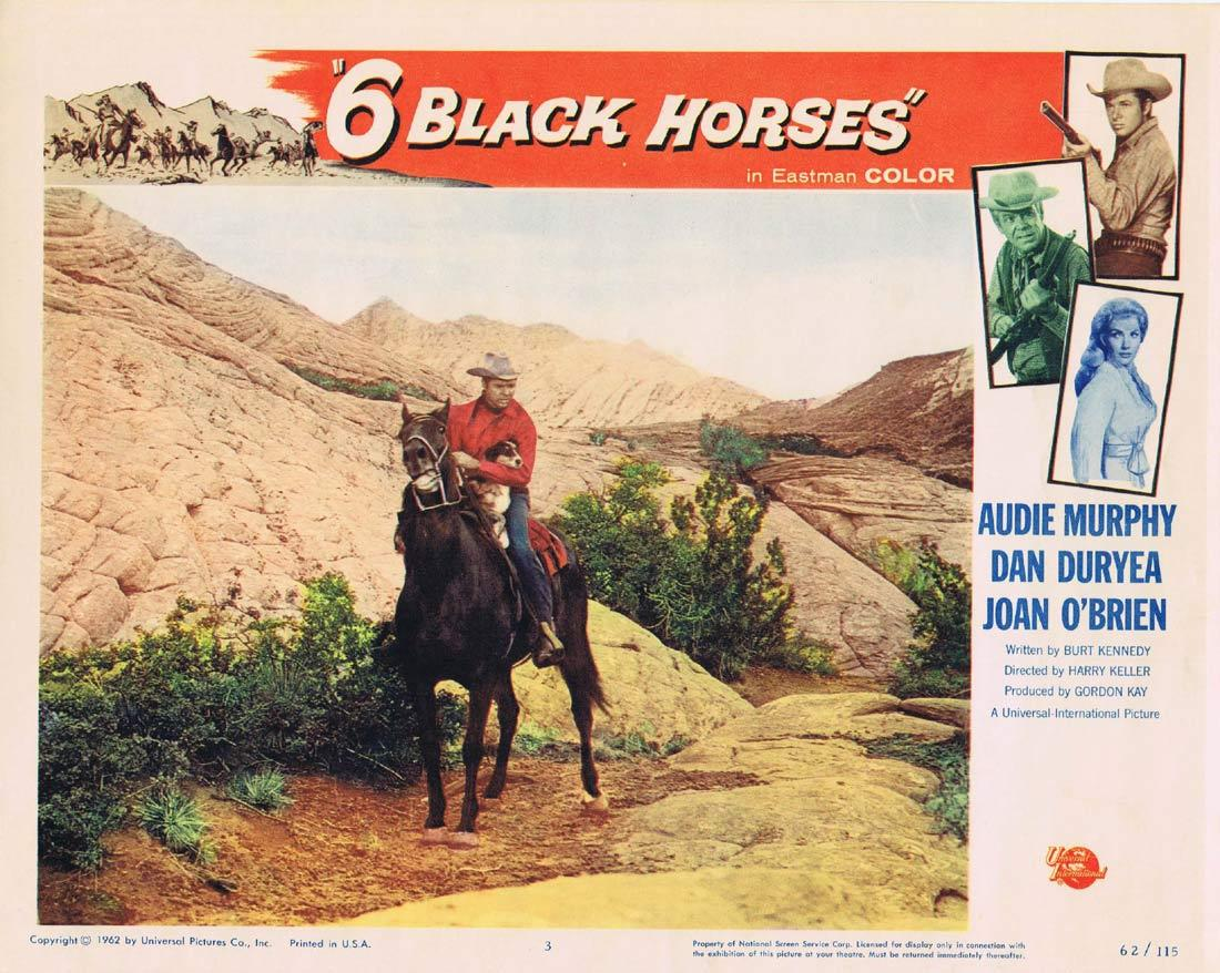 6 BLACK HORSES Original Lobby Card 3 Audie Murphy