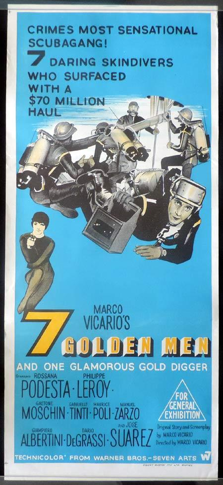 7 GOLDEN MEN Daybill Movie Poster Skin Diving Scuba