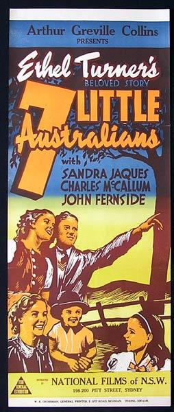 7 LITTLE AUSTRALIANS 1940s Ethel Turner RARE Movie poster
