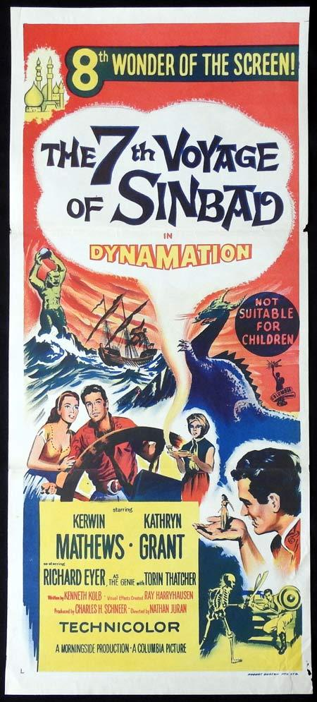 THE 7TH VOYAGE OF SINBAD Original Daybill Movie Poster Kerwin Mathews Torin Thatcher