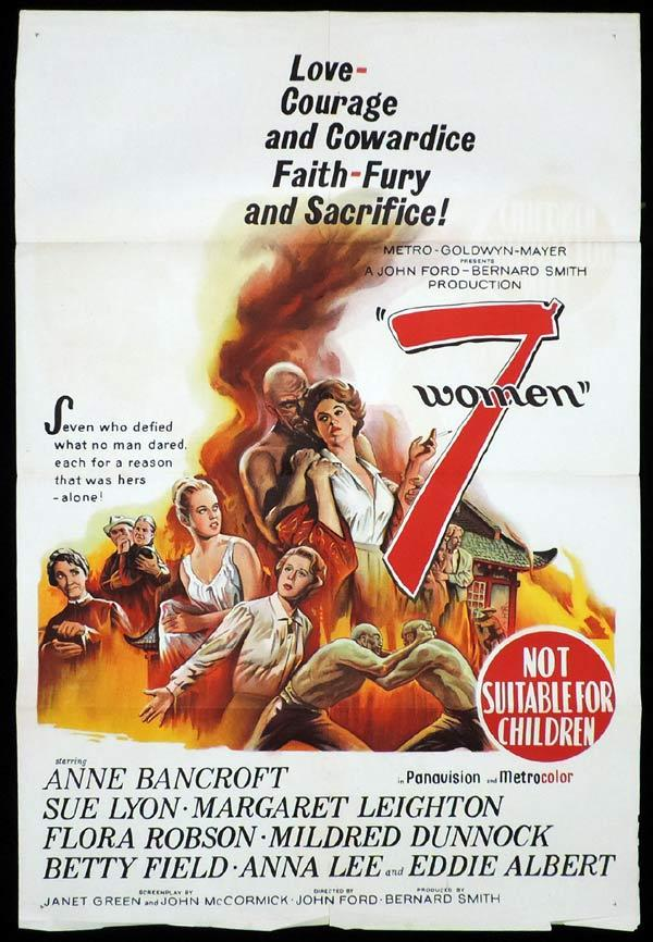 7 WOMEN One Sheet Movie Poster John Ford Anne Bancroft