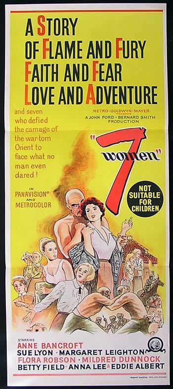 7 WOMEN Original Daybill Movie poster 1966 John Ford Ann Bancroft