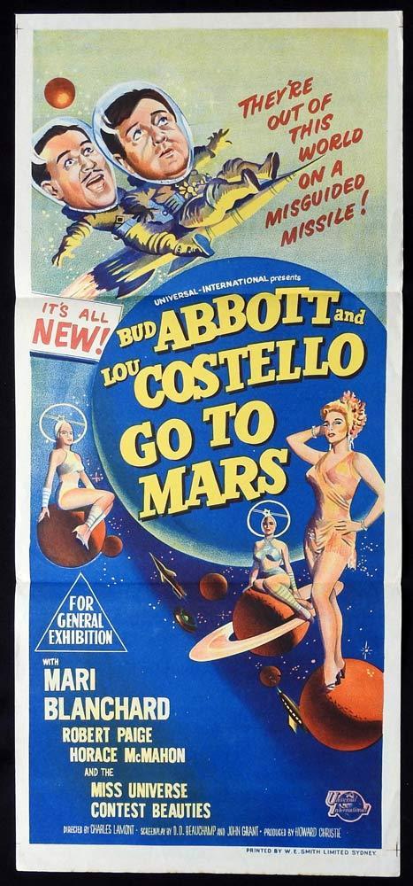 ABBOTT AND COSTELLO GO TO MARS Original Daybill Movie poster
