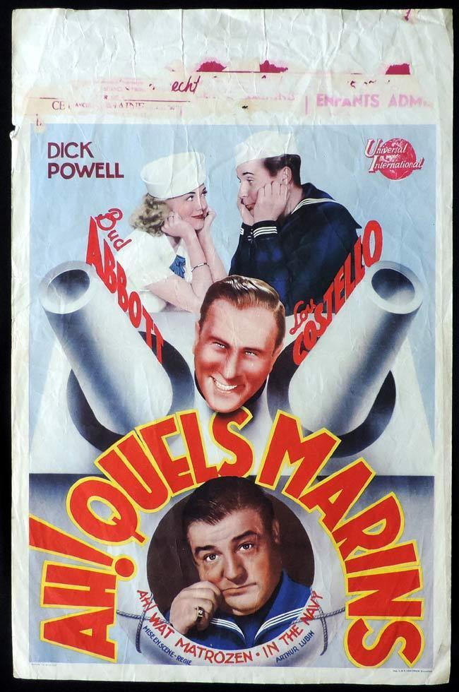 IN THE NAVY Original Belgian Movie poster Abbott and Costello