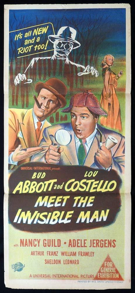 ABBOTT AND COSTELLO MEET THE INVISIBLE MAN Original Daybill Movie poster