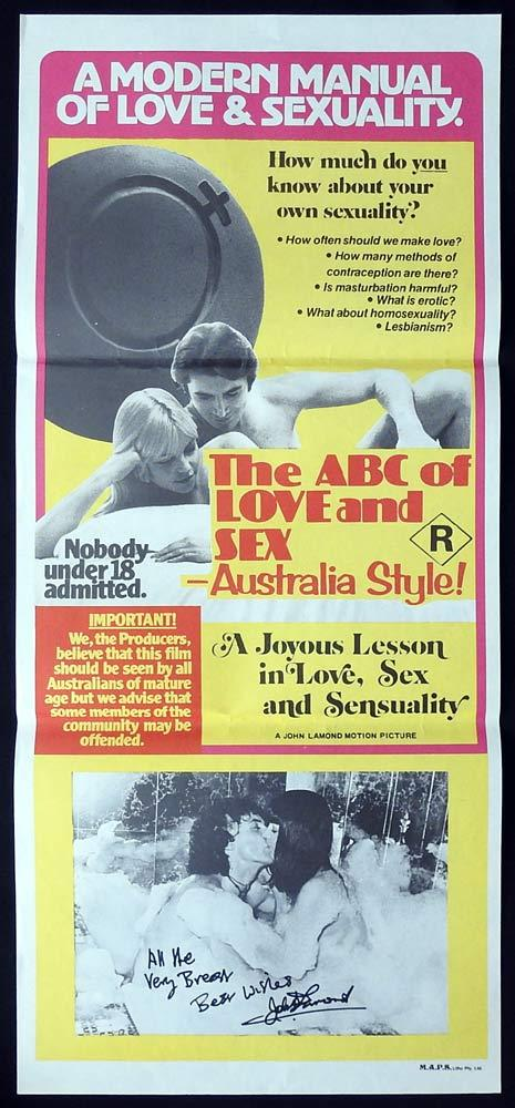 ABC OF LOVE AND SEX IN AUSTRALIA Original Daybill Movie poster AUTOGRAPHED John Lamond