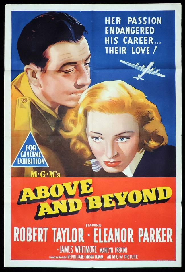 ABOVE AND BEYOND Original One sheet Movie Poster Robert Taylor Eleanor Parker
