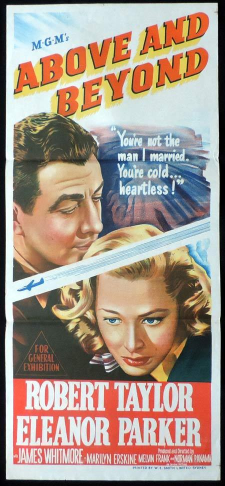 ABOVE AND BEYOND Original Daybill Movie Poster Robert Taylor Eleanor Parker