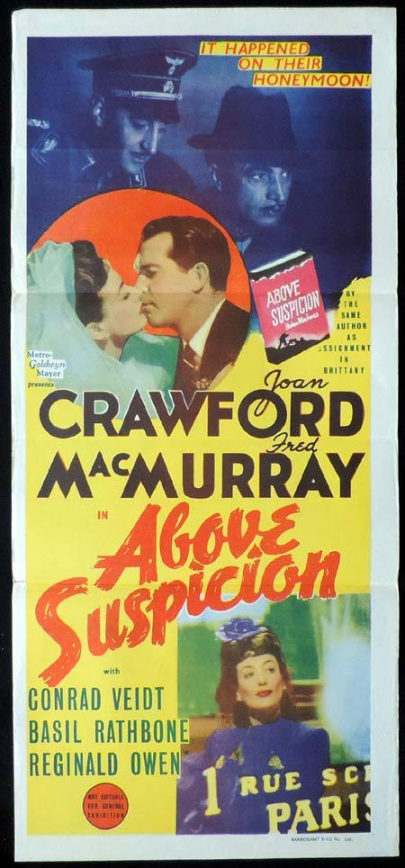 ABOVE SUSPICION Original Daybill Movie Poster Fred MacMurray Joan Crawford Marchant Graphics
