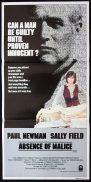 ABSENCE OF MALICE Australian Daybill Movie poster Paul Newman Sally Field