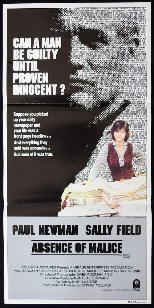 ABSENCE OF MALICE Australian Daybill Movie poster Paul Newman Sally Field