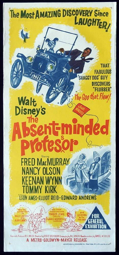 THE ABSENT MINDED PROFESSOR Original Daybill Movie Poster Fred MacMurray Nancy Olson
