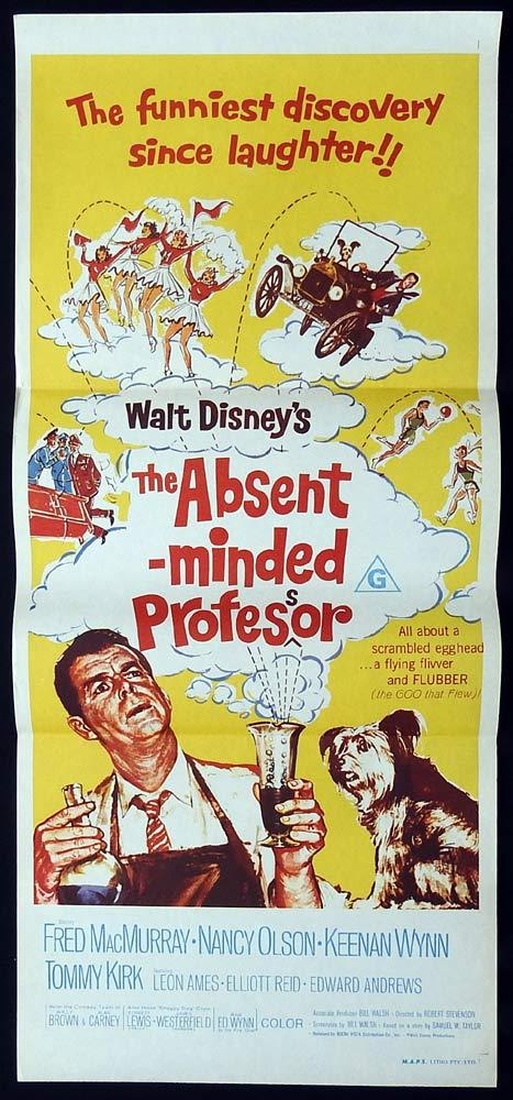 THE ABSENT MINDED PROFESSOR Original 70sr Daybill Movie Poster Fred MacMurray Disney
