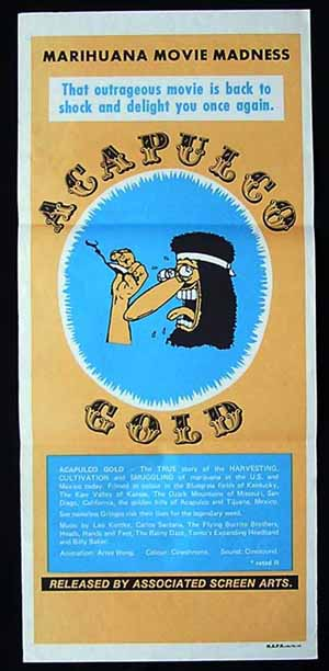 ACAPULCO GOLD Daybill Movie poster 80s Surfing Dope Kottke MARIHUANA