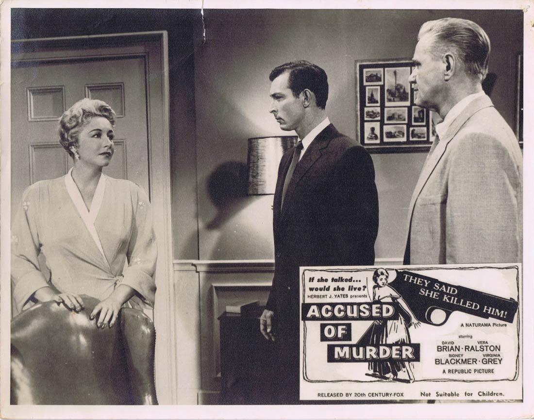 ACCUSED OF MURDER Lobby Card 1 David Brian Vera Ralston Sidney Blackmer  Film Noir