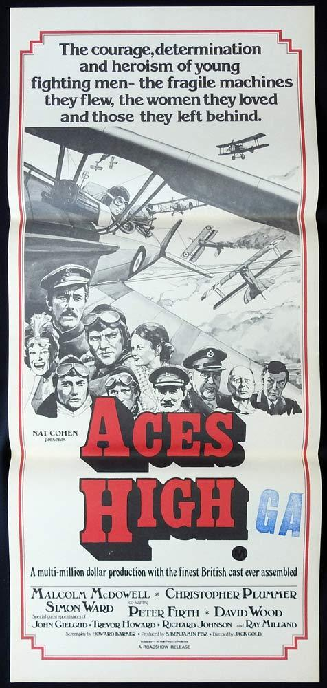 ACES HIGH Original Daybill Movie poster Malcolm McDowell Christopher Plummer