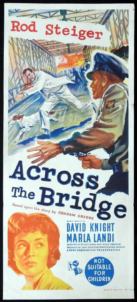 ACROSS THE BRIDGE Original Daybill Movie Poster Rod Steiger Graham Greene