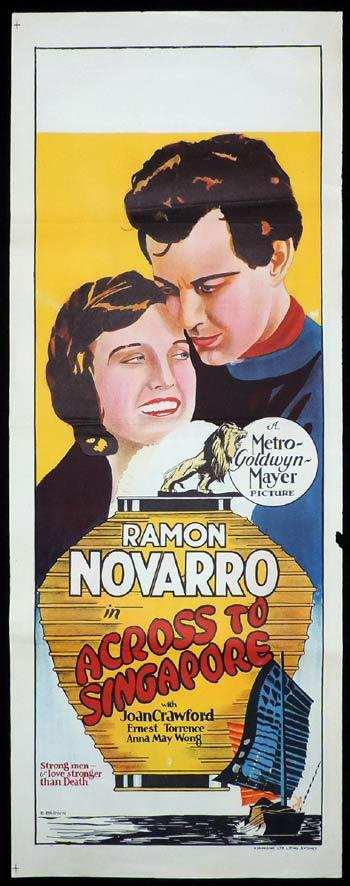 ACROSS TO SINGAPORE Long Daybill Movie poster 1928 E.Brown art