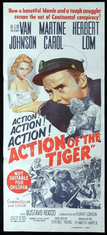 ACTION OF THE TIGER Daybill Movie poster Van Johnson Martine Carol