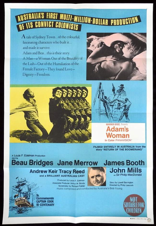 ADAM'S WOMAN One sheet Movie poster Beau Bridges Jane Merrow
