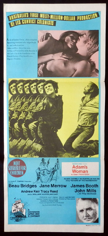 ADAM'S WOMAN Australian Daybill Movie poster 1970 Beau Bridges Australian Film Daybill Movie poster